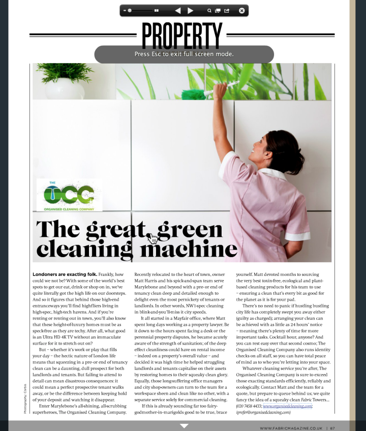 The Organised Cleaning Company - Fabric Magazine November 2014
